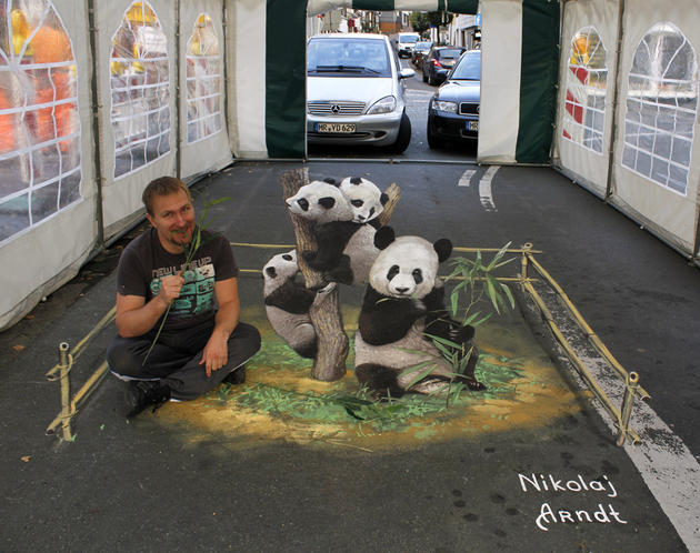 3D Street Art by Nikolaj Arndt - Pandas Eating