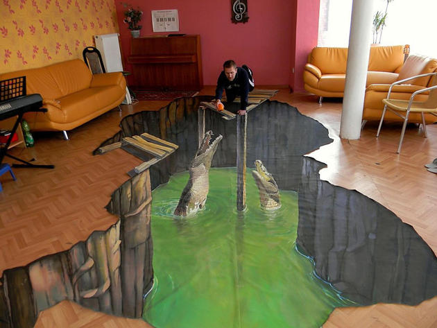 3D Street Art by Nikolaj Arndt - alligator den
