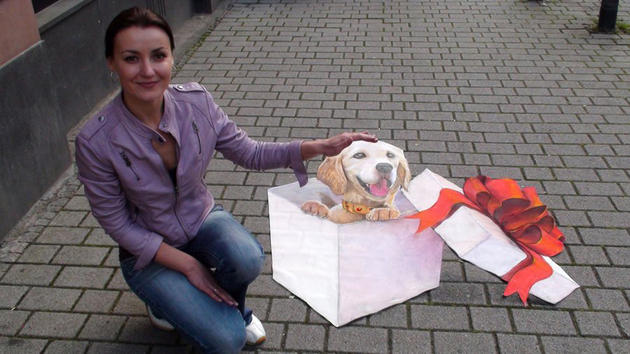 3D Street Art by Nikolaj Arndt - dog present