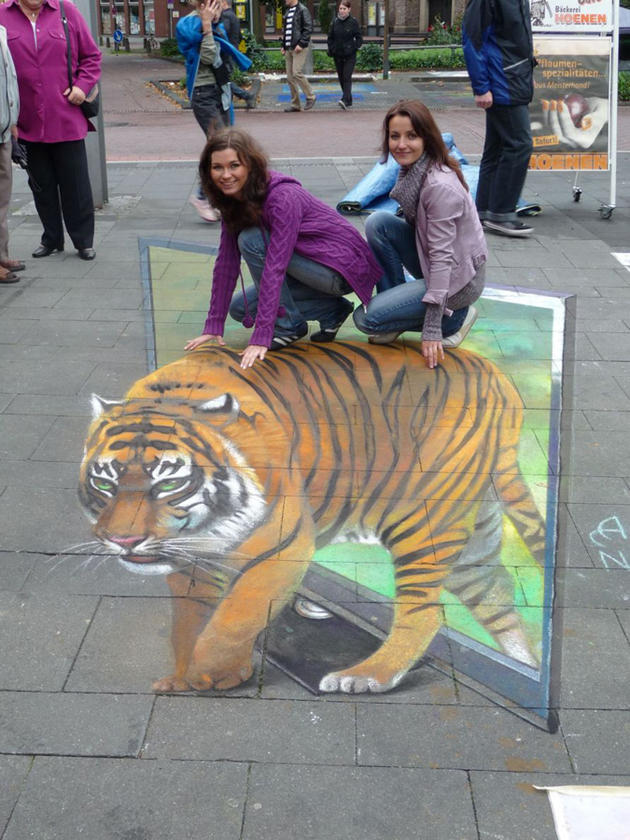 3D Street Art by Nikolaj Arndt - riding a tiger