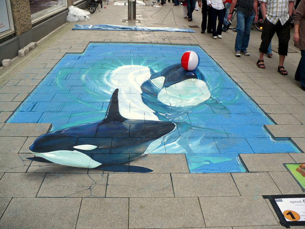 3D Street Art by Nikolaj Arndt - killer whales