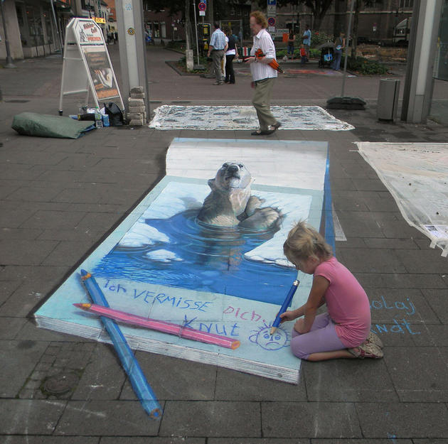 3D Street Art by Nikolaj Arndt - Child drawing