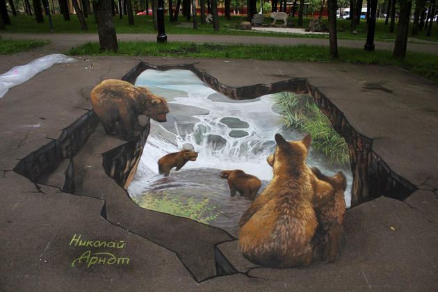3D Street Art by Nikolaj Arndt - Bears fishing