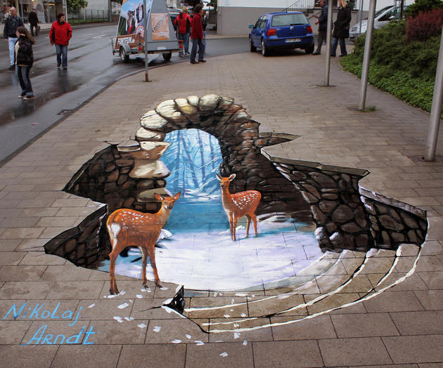 3D Street Art by Nikolaj Arndt - Deer chilling