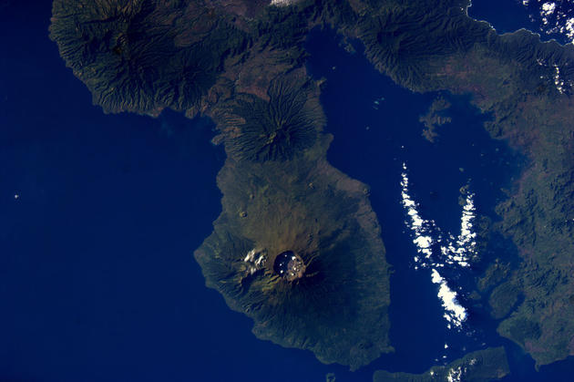 Tambora Volcano from Space by Andre Kuipers