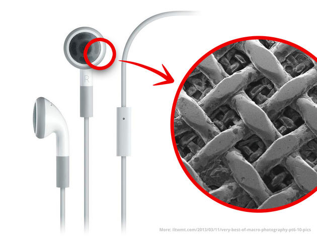 Apple earbuds electron microscope closeup