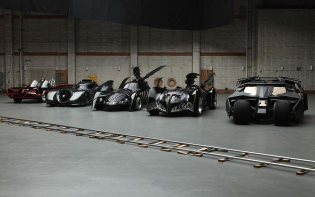 Batmobiles lined up HD Wallpaper