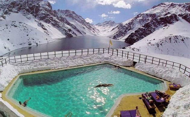 pool in ice cold mountains