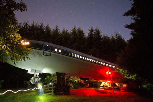 Night time view of the Boeing home