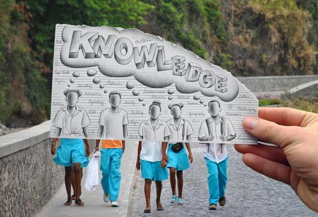 Ben Heine Pencil and Photo Combination Art