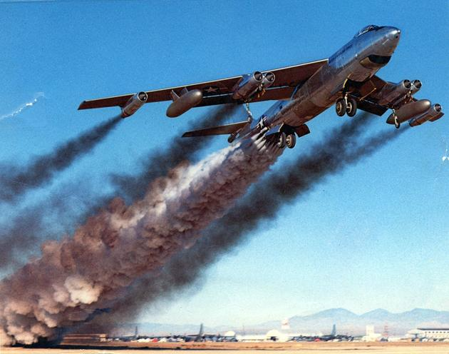 B-47 take off with rocket assistance