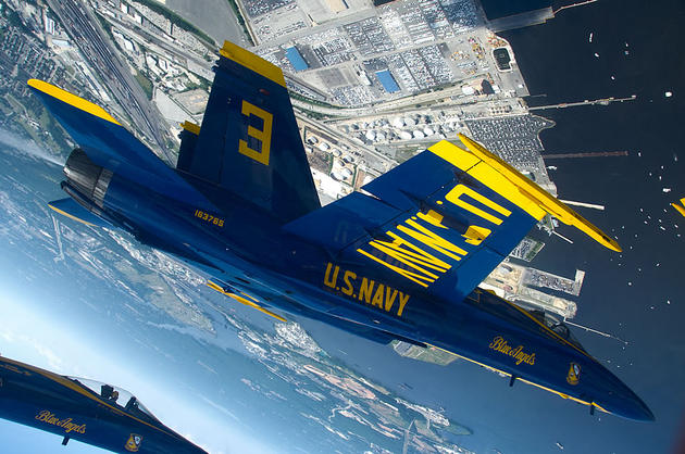 Blue angels upside down