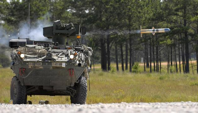 A Stryker firing a TOW missile