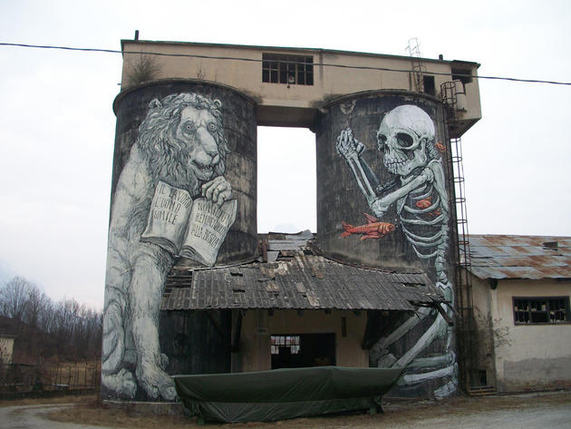 Death and lion graffiti Italy