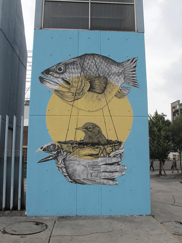 Fish Graffiti on wall