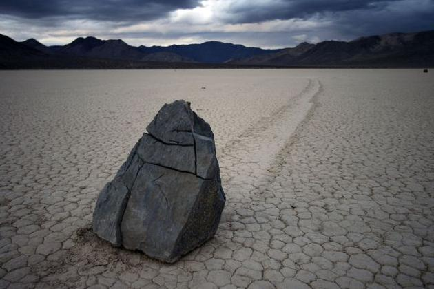 Sailing rock on dark day in Death Valley