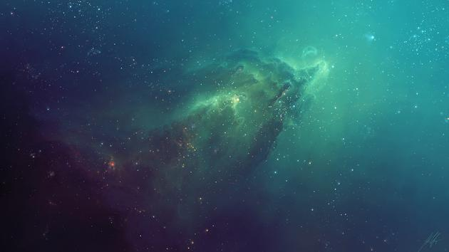 Beautful teal nebula far away wallpaper