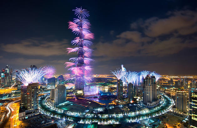 Fireworks in Dubai for 2013 celebration