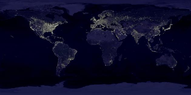 Earth's night lights as seen from space