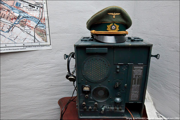 Generals cap, sitting on top of the radio