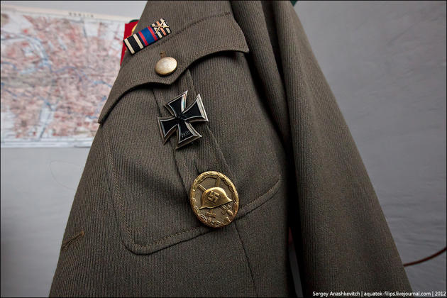 The iron cross on the general's jacket