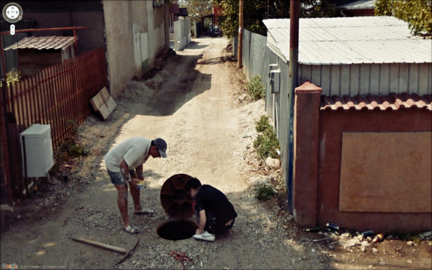 Manhole people Google Maps