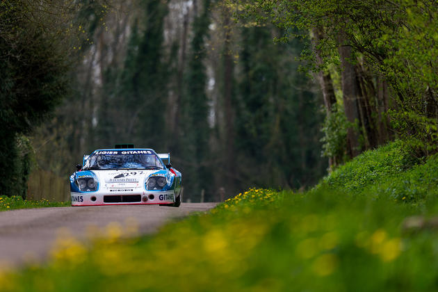 Ligier JS2 racing down an old forest