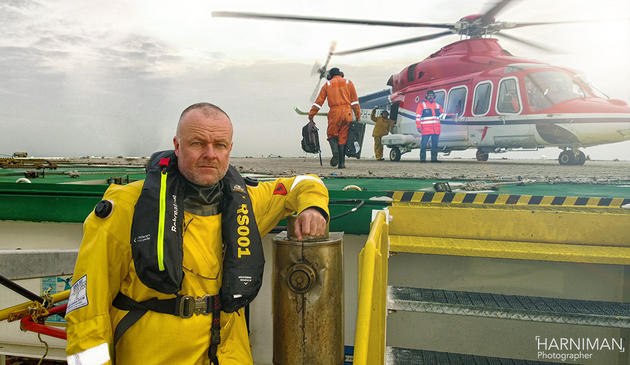 Nigel Harniman at a North Sea helicopter shoot