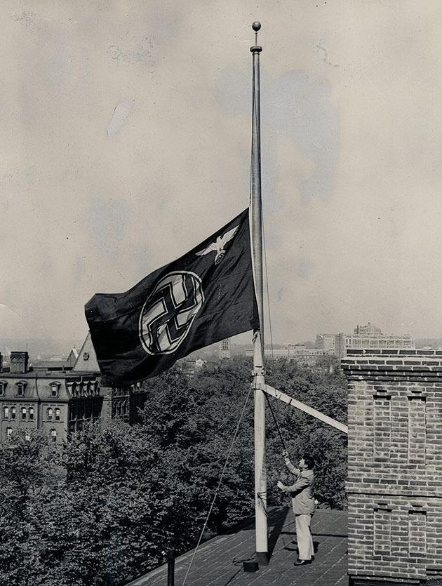 German Flag half mast at Hindenburg disaster