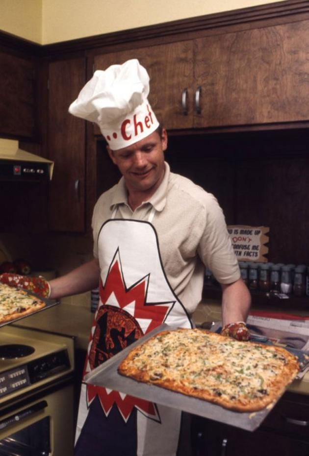 Neil Armstrong making pizza 1969
