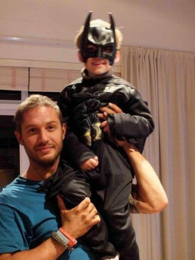 Tom Hardy (bane) and his son as batman