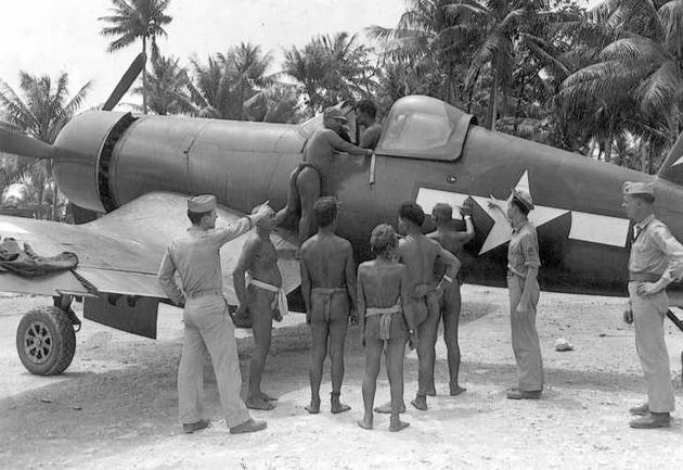 F4u corsair is being admired by natives