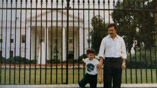 Pablo Escobar and his son in front of White house