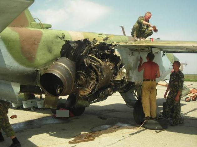 Su-27 Damaged by Georgian forces