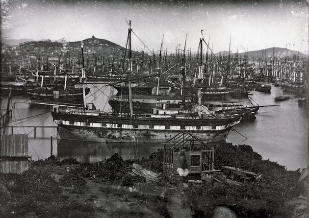 Abandoned boats in the port of San Francisco during the 1850 Gold Rush