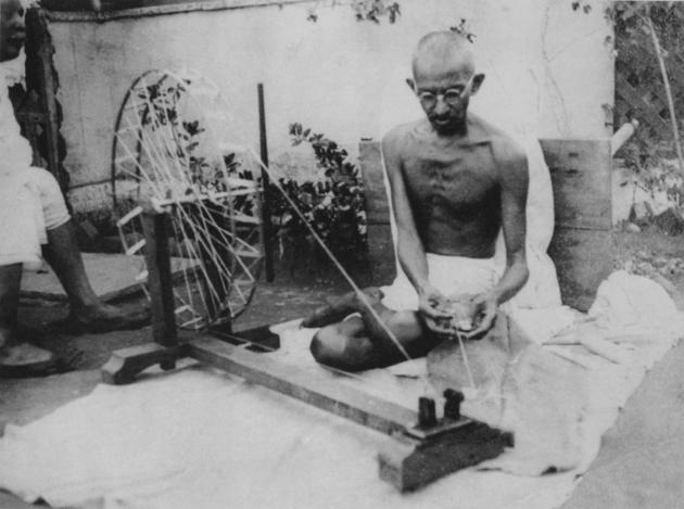 Ghandi spinning yarn