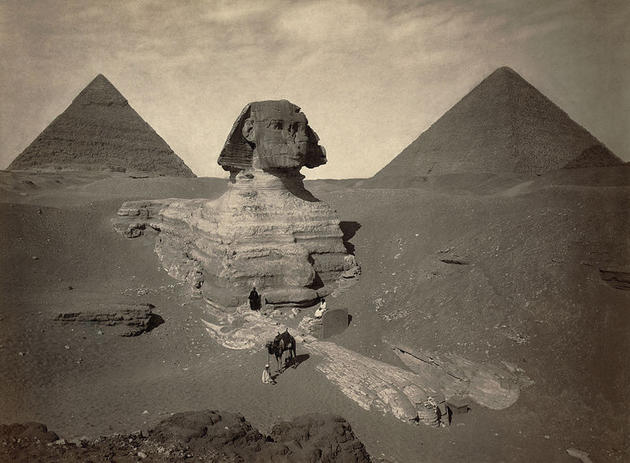 The partially excavated sphinx in egypt