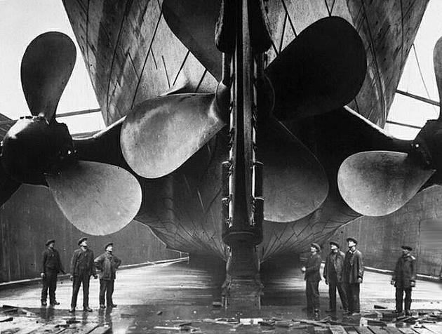 Titanic Propellers in Dry dock in comparison to humans