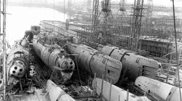 Type XXI submarines being built in AG Weser Bremen Germany