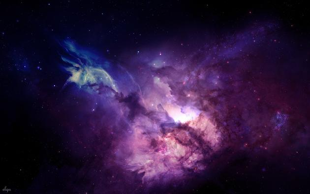 Big wallpaper of a purple-blue galaxy mac pc