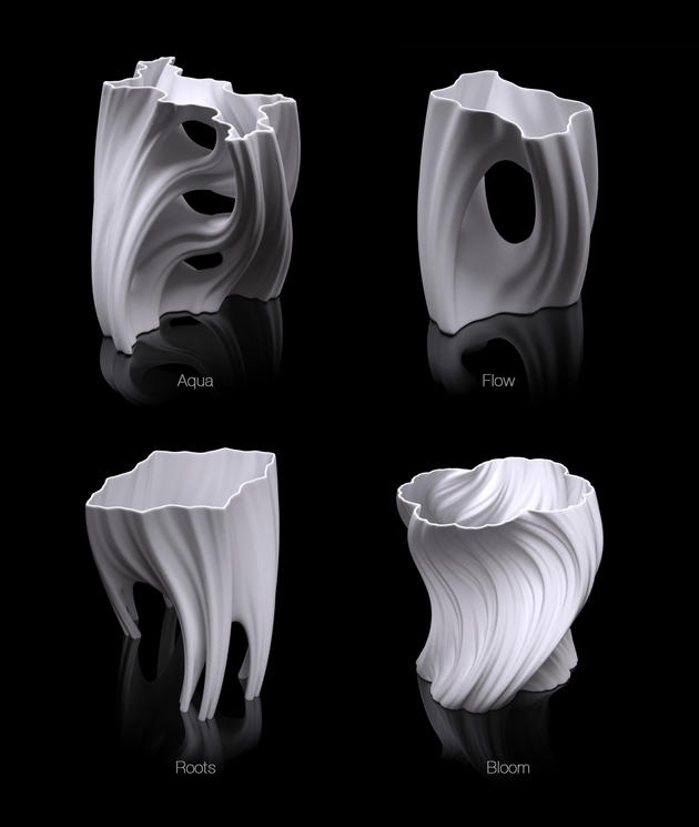 Julia vase collection of 3D printable decorative vases: Aqua, Flow, Roots, and Bloom
