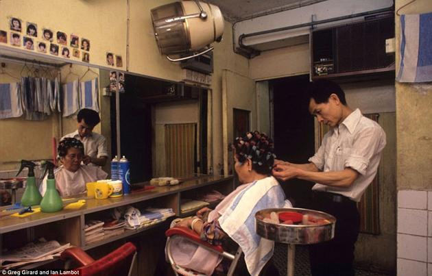 A barber shop inside of Kowloon