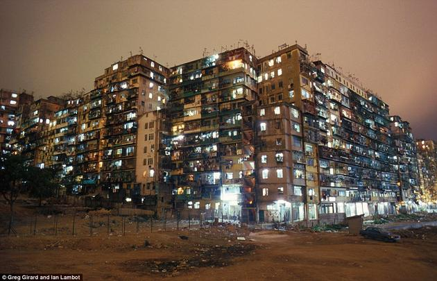 Kowloon Walled City at Night