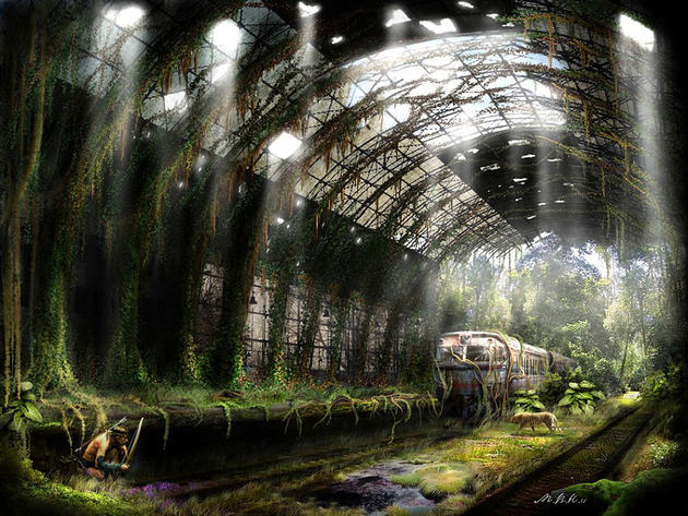 Overgrown Train station, hunter inside