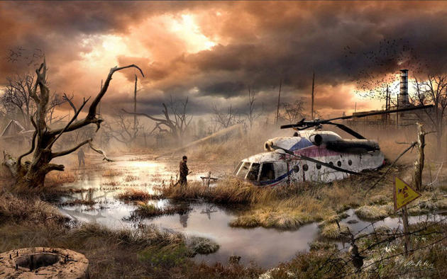 Crashed helicopter in the swamp post apocalypse