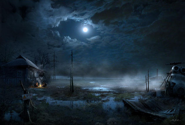 Night time swamp post apocalypse
