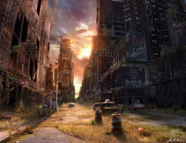 Empty streets at sunset post apocalypse