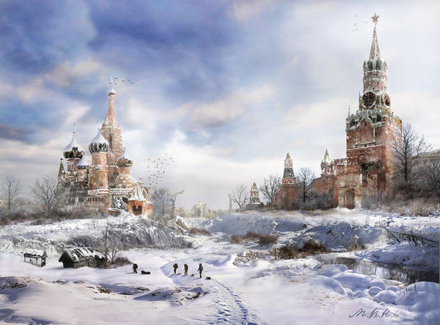 Post apocalypse winter in red square