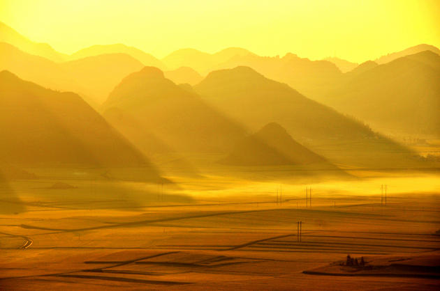 A sunrise in the valley of Luoping China