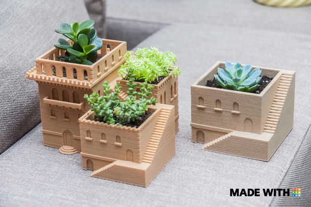 3D printed mini planters in form of Middle Eastern villas made with Tinkercad
